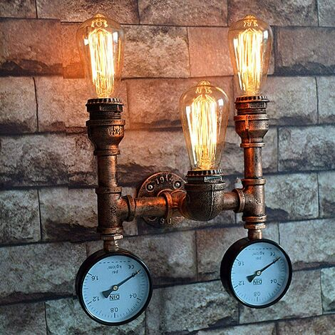 """main image of """"Vintage Steampunk Water Pipe Wall Lamp, Rustic Industrial Wall Lamp with Pressure Gauge, E27 * 3, Indoor Metal Wall Light, for Decorative Bar Cafe, Bronze [Energy Class A]"""""""