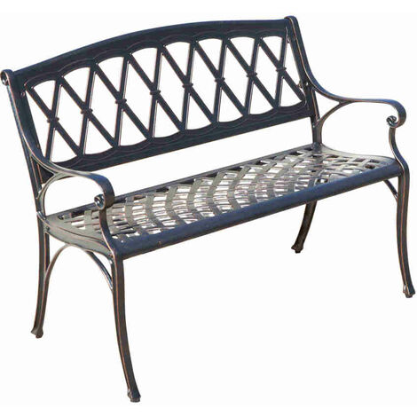 Vintage Style Metal Garden Bench - Durable Outdoor Park Seat with Bronze Finish