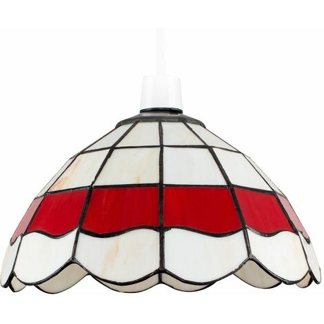 Vintage Style Pendant Light Shade Cream Red Stained Glass Ceiling Lampshade - Cream