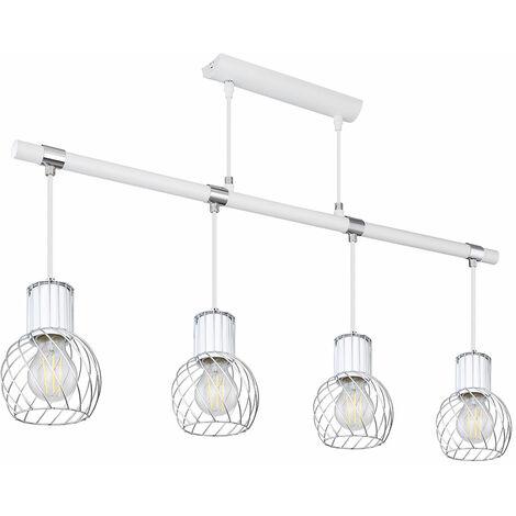 Vintage suspension lampe cage design pendentif blanc bois look salon éclairage plafonnier Globo 54012-4H