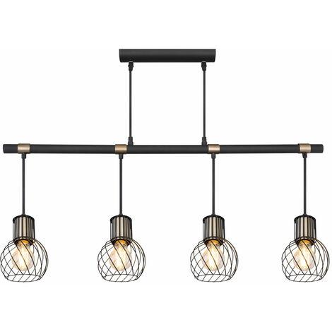 VINTAGE suspension plafonnier poutres salle à manger suspension lampe en treillis NOIR-OR Globo 54013-4H