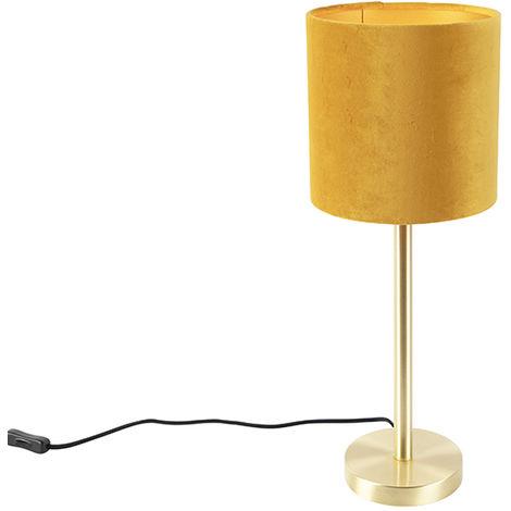Vintage Table Lamp Brass with 20cm Velvet Ochre Shade - Simplo