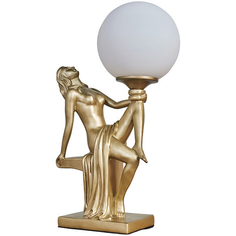 Vintage Table Lamp Woman Art Deco Gold / Silver Finishes Glass Shade - Gold - Gold