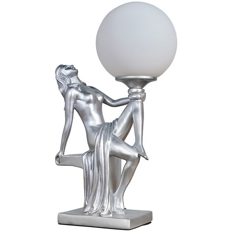 Vintage Table Lamp Woman Art Deco Gold / Silver Finishes Glass Shade - Silver - Silver