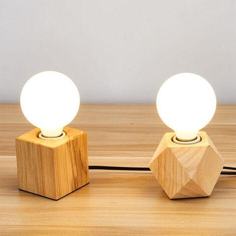 Vintage Tischlampe E27 Lampefassung Holz Quadrat Leuchte Dekoration Office Home Cafe Bar Restaurant