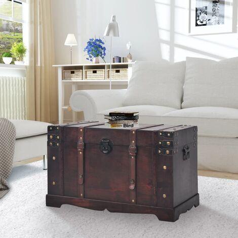 "main image of ""Vintage Treasure Chest Wood 66x38x40 cm - Brown"""