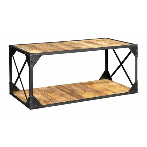 Vintage Up cycled Industrial Coffee Table with Shelf Metal and Wood