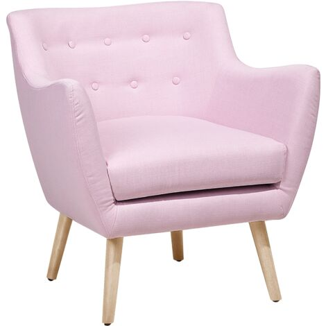 Vintage Upholstered Accent Chair Armchair Fabric Pastel Pink Drammen