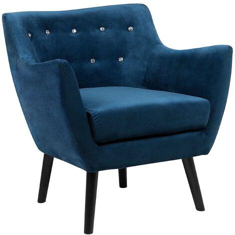 Vintage Upholstered Accent Chair Armchair Velvet Fabric Sea Blue Drammen