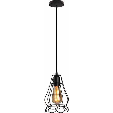 Vintage Vase Shape Chandelier Black Metal Wrought Iron Pendant Light Industrial Cage Ceiling Light for Cafe Bedroom