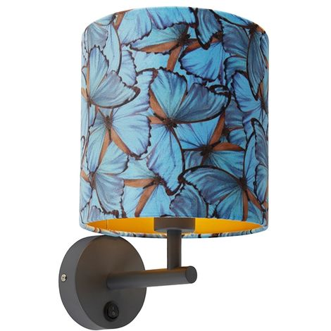 Vintage wall lamp dark gray with velor shade butterfly - Combi