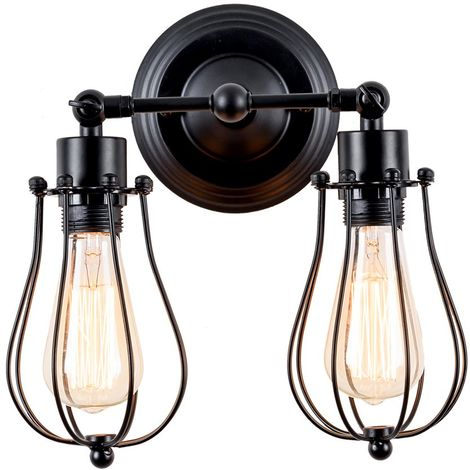 """main image of """"Vintage Wall Light 2-Light Black Wall Lamp Retro Industrial Wall Light Metal Cage Wall Sconces for Indoor Home Bar Club"""""""