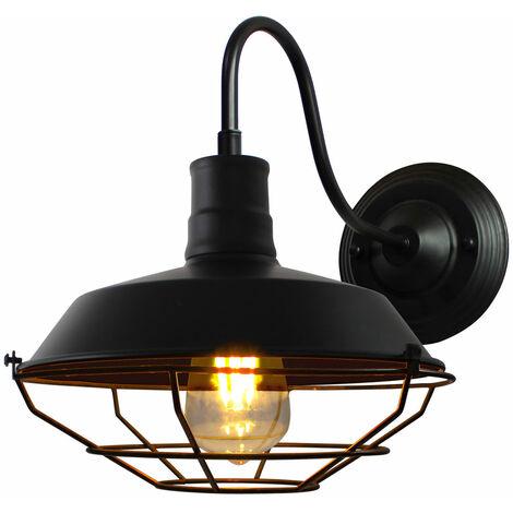 Vintage Wall Light Industrial Lighting Retro Metal Cage Shade Wall Lamp Indoor Outdoor, Black