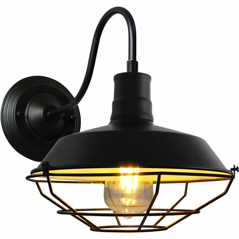 Vintage Wall Light Industrial Lighting Retro Metal Cage Shade Wall Lamp Indoor Outdoor, Black & White