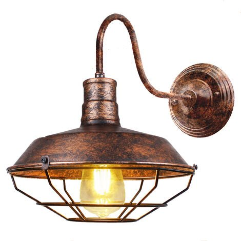 Vintage Wall Light Industrial Lighting Retro Metal Cage Shade Wall Lamp Indoor Outdoor, Rust