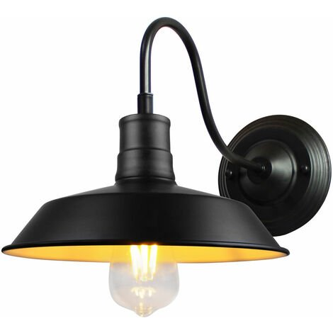 Vintage Wall Light Industrial Metal Wall Sconce Lighting Fixtures with Black Lamp Shade for Indoor Outdoor