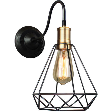 Vintage Wall Light Industrial Retro Metal Black Diamond Shade Wall Lamp Fixtures
