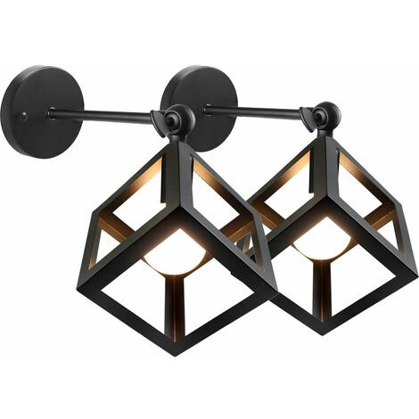 Vintage Wall Light,Industrial Style Wall Lamp Adjustable Angle Wall Sconce Rustic Retro Wall Sconce Metal Cage Wall Lamp Indoor Creative Cube Ceiling Light Black (2pcs)