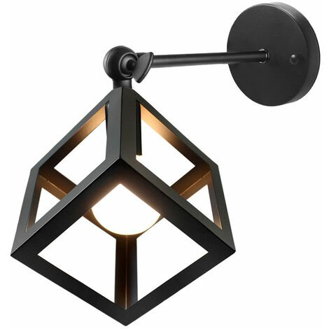 Vintage Wall Light,Industrial Style Wall Lamp Adjustable Angle Wall Sconce Rustic Retro Wall Sconce Metal Cage Wall Lamp Indoor Creative Cube Ceiling Light Black