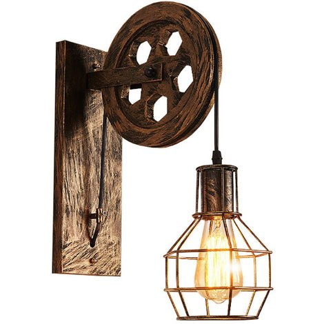 Vintage Wall Lights Industrial Creative Retro Lifting Pulley Lighting Style Wall Lights Loft Metal Cage Sconces Indoor Home Wall Lamp Retro Light Fixture