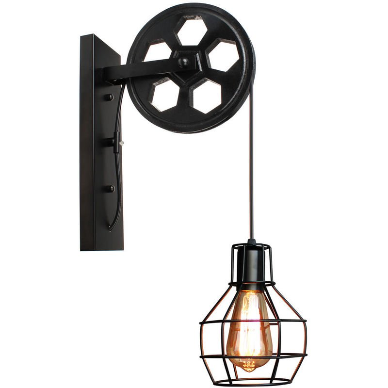Vintage Wall Lights Lifting Pulley Industrial Creative Retro Lighting Style Wall Lights Loft Metal Cage Sconces Indoor Home Wall Lamp Retro Light Fixture Black Zmd104 4