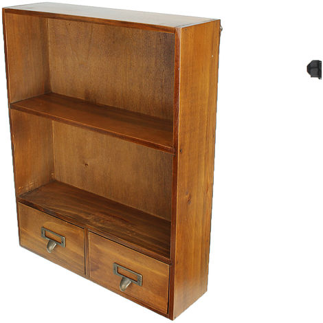 Vintage Wooden Bookshelf Cosmetics Storage Display Shelf