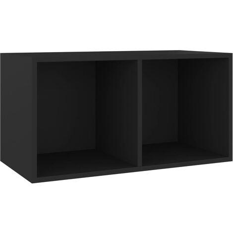 Vinyl Storage Box Black 71x34x36 cm Chipboard