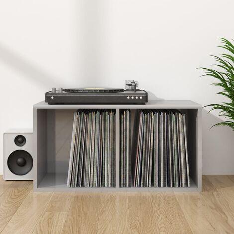Vinyl Storage Box High Gloss Grey 71x34x36 cm Chipboard - Grey