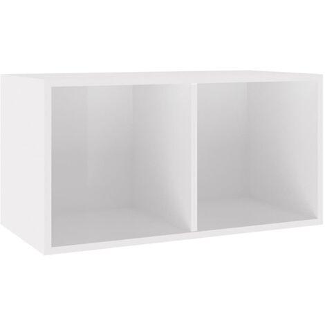 Vinyl Storage Box High Gloss White 71x34x36 cm Chipboard