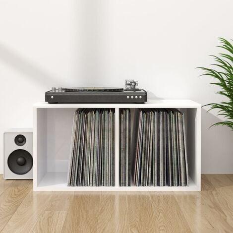 Vinyl Storage Box High Gloss White 71x34x36 cm Chipboard - White