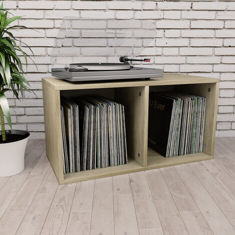Vinyl Storage Box Sonoma Oak 71x34x36 cm Chipboard