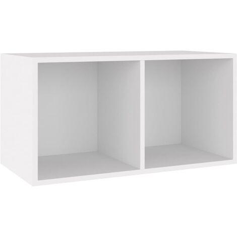 Vinyl Storage Box White 71x34x36 cm Chipboard