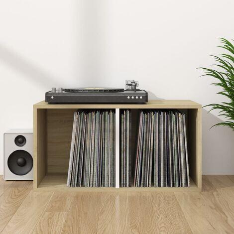 Vinyl Storage Box White and Sonoma Oak 71x34x36 cm Chipboard - Brown