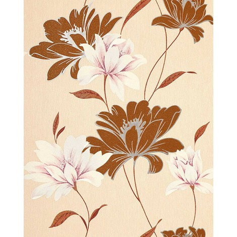 Vinyl wallpaper wall floral EDEM 168-31 flowers textured wallpaper wall nut-brown cream white rose 5.33 sqm (57 sq ft)