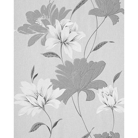 Vinyl wallpaper wall floral EDEM 168-36 flowers textured wallpaper wall grey light grey white silver 5.33 sqm (57 sq ft)