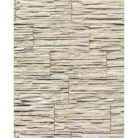 Vinyl wallpaper wall modern textured stone natural 1003-33 brick decor washable beige white grey 5.33 sqm (57 sq ft)