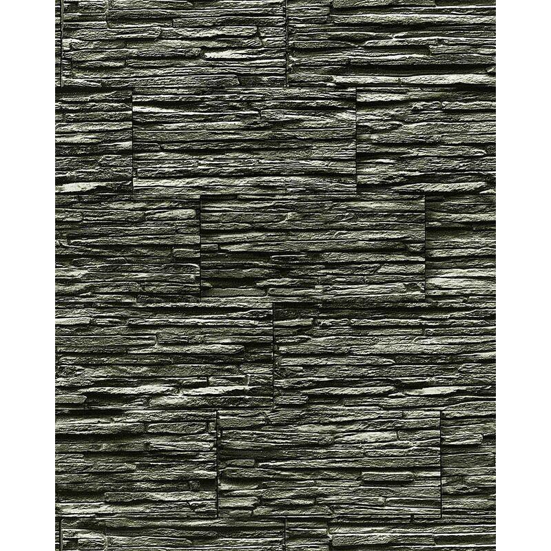 Image of Edem - Vinyl wallpaper wall modern textured stone natural 1003-34 brick decor extra washable black grey 5.33 sqm (57 sq ft)