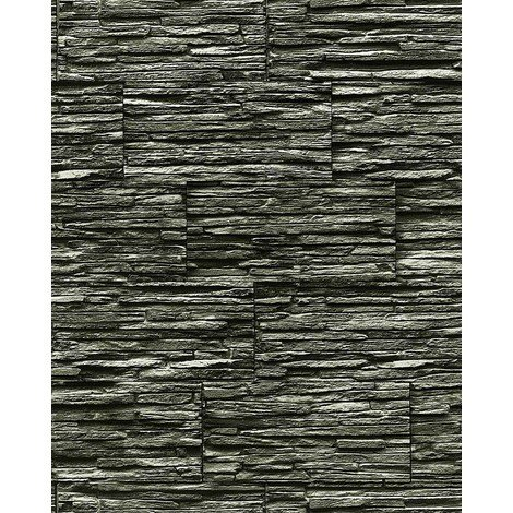 Vinyl wallpaper wall modern textured stone natural 1003-34 brick decor extra washable black grey 5.33 sqm (57 sq ft)