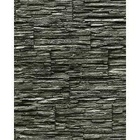 Vinyl wallpaper wall modern textured stone natural 1003-34 brick decor extra washable black grey 5.33 sqm (57 sq ft)