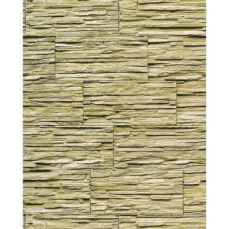 Vinyl wallpaper wall modern textured stone natural 1003-35 brick decor washable olive-green green 5.33 sqm (57 sq ft)