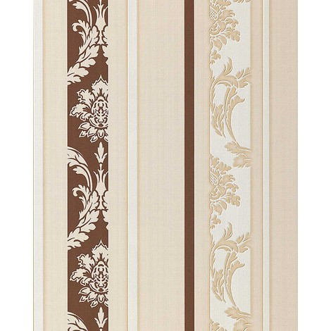 Vinyl wallpaper wall textured baroque EDEM 053-23 stripes damask ornaments chocolate-brown white beige 5.33 sqm (57 sq ft)