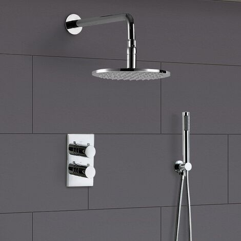 Violet Round Concealed Thermostatic Shower Mixer, Led Shower Head & Handset