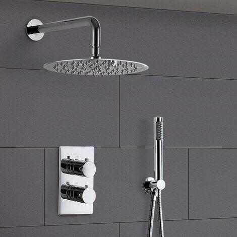 Violet Round Concealed Thermostatic Shower Mixer, Shower Head & Handset