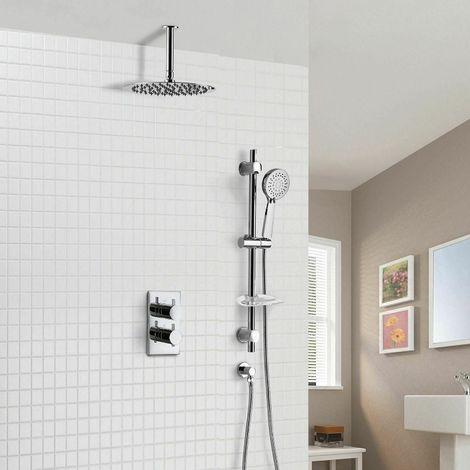 Violet Thermostatic 2 Dial 2 Way Round Set - Slim Shower Head & Slider Rail Handset