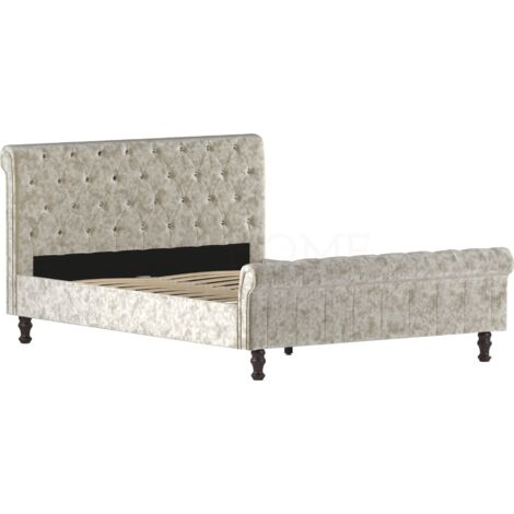 Violetta King Size Bed, Crushed Velvet Champagne