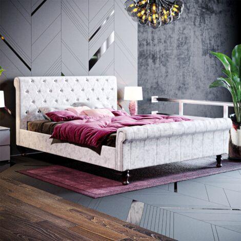 Violetta King Size Bed, Crushed Velvet Silver