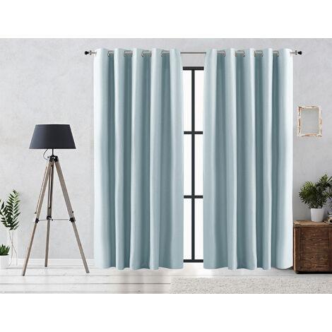 Vipalia Cortina Rustica Oscurante Lisa Anillas 140x255 cm Azul