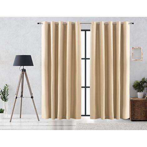 Vipalia Cortina Rustica Oscurante Lisa Anillas 140x255 cm Blanco