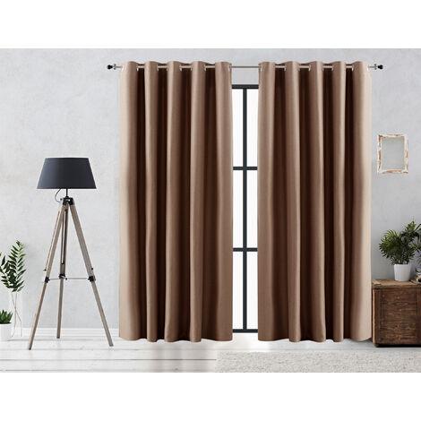 Vipalia Cortina Rustica Oscurante Lisa Anillas 140x255 cm Marron