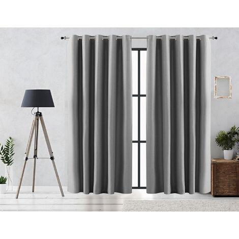 Vipalia Cortina Rustica Oscurante Lisa Anillas 140x255 cm Plata